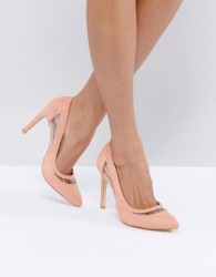 Glamorous Pink Mesh Insert Court Shoes - Pink