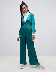 Glamorous premium wide leg jumpsuit in luxe satin - Green