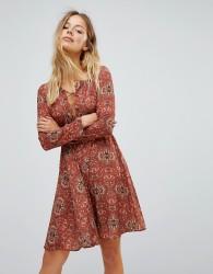 Glamorous Printed Skater Dress - Tan