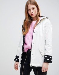 Glamorous raincoat with polka dot lining - White