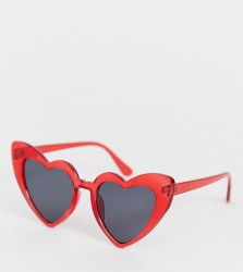 Glamorous red heart sunglasses - Red