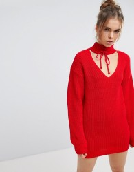 Glamorous Relaxed Jumper With Cut Out Collar And Tie Cuffs - Red