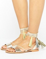 Glamorous Rose Gold Leather Tassle Tie Up Flat Sandals - Gold
