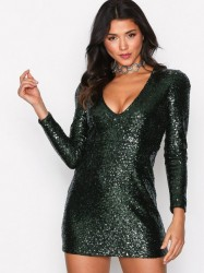 Glamorous Sequin Party Dress Pailletkjoler Dark Green