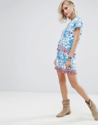 Glamorous Shorts In Floral Print With Tassel Trim Co-Ord - Blue