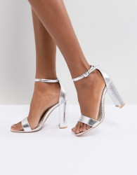 Glamorous Silver Barely There Block Heeled Sandals - Silver