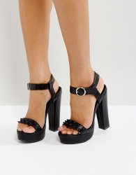 Glamorous Stud Platform Heeled Sandals - Black