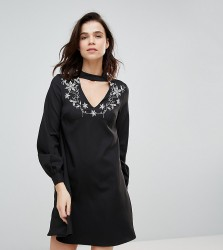 Glamorous Tall A-Line Dress With Embroidered Choker Neck - Black