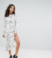 Glamorous Tall All Over Floral Maxi Dress With Asymetric Hem Detail - Multi