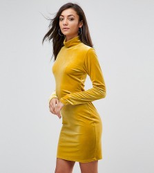 Glamorous Tall Bodycon Dress With High Neck In Velvet - Yellow
