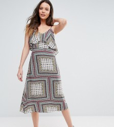 Glamorous Tall Cold Shoulder Midi Swing Dress - Multi
