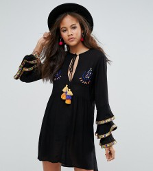 Glamorous Tall Embroidered Smock Dress With Frill Layered Sleeve Detail - Black