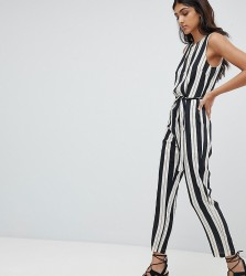 Glamorous Tall Jumpsuit With Tie Waist In Stripe - Black
