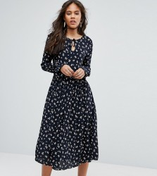 Glamorous Tall Lace Up Midi Skater Dress With Fluted Sleeves In All Over Floral Print - Multi