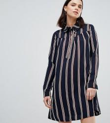 Glamorous Tall Long Sleeve Shirt Dress In Stripe - Black