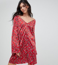 Glamorous Tall Long Sleeve Tea Dress With Button Front In Vintage Floral - Red