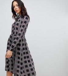 Glamorous Tall midi shirt dress in check - Black