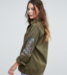 Glamorous Tall Military Jacket With Dragon Arm Embroidery - Green