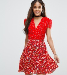 Glamorous Tall Mix And Match Floral Tea Dress - Multi