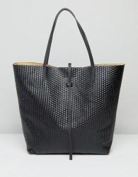 Glamorous Woven Tote Bag in Black - Black
