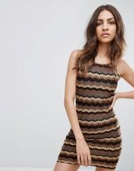 Glamorous Zig Zag Dress - Brown