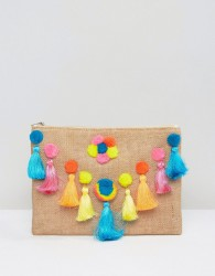 Glamorous Zip Top Clutch With Oversized Poms - Multi