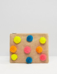 Glamorous Zip Top Pouch With Pom Poms - Multi