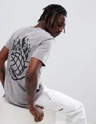 Globe Back Print T-Shirt in Washed Black - Black