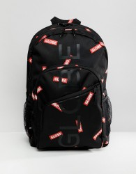 Globe backpack with all over logo print in black - Black
