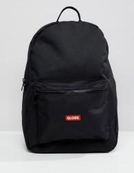 Globe Backpack with Logo Pocket Detail in Black - Black