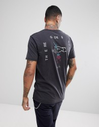 Globe Dion Mantra T-shirt With Rose Back Print In Black - Black