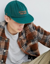 Globe embroidered low rise snapback in green - Green