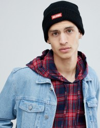 Globe Knitted Beanie with Logo Patch in Black - Black