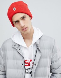 Globe Knitted Beanie with Patch Front Detail in Red - Red