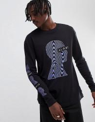 Globe Oracle Profile Print Long Sleeve T-Shirt in Black - Black