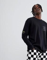 Globe Smile Now Long Sleeve T-Shirt in Black - Black