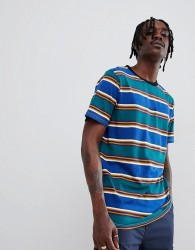 Globe Stripe T-Shirt with Chest Embroidery in Ombre Blue - Blue