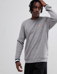 Globe Sweatshirt with Contrast Cuffs and Logo in Grey - Grey