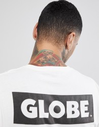 Globe T-Shirt With Back Sticker Logo Print In White - White