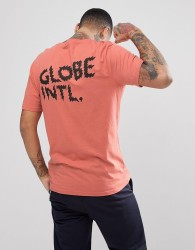 Globe Zap T-Shirt With Back Print In Dusty Coral - Orange