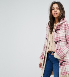 Gloverall Exclusive Classic Mid Length Duffle In Pink Check - Pink