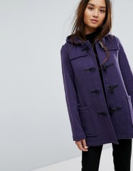 Gloverall Fitted Pannelled Wool Blend Duffle Coat - Purple