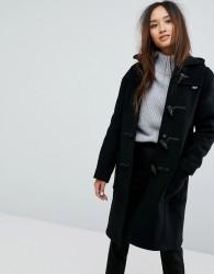 Gloverall Long Slim Wool Blend Duffle Coat - Black