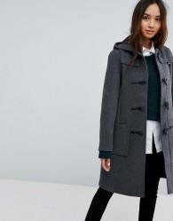 Gloverall Long Slim Wool Blend Duffle Coat - Grey