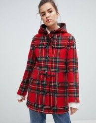 Gloverall Mid Length Duffle Coat in Check - Red