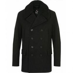 Gloverall Shearling Peacoat Black