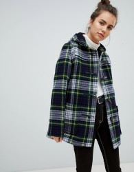 Gloverall Slim Mid Length Duffle Coat in Check - Navy