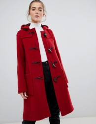 Gloverall slim mid length duffle coat in wool blend - Red