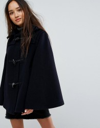 Gloverall Wool Blend Duffle Cape with Detachable Hood - Navy
