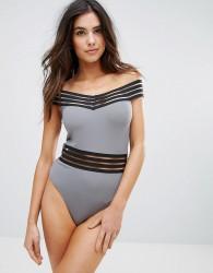 Goddiva Off Shoulder Swimsuit - Grey